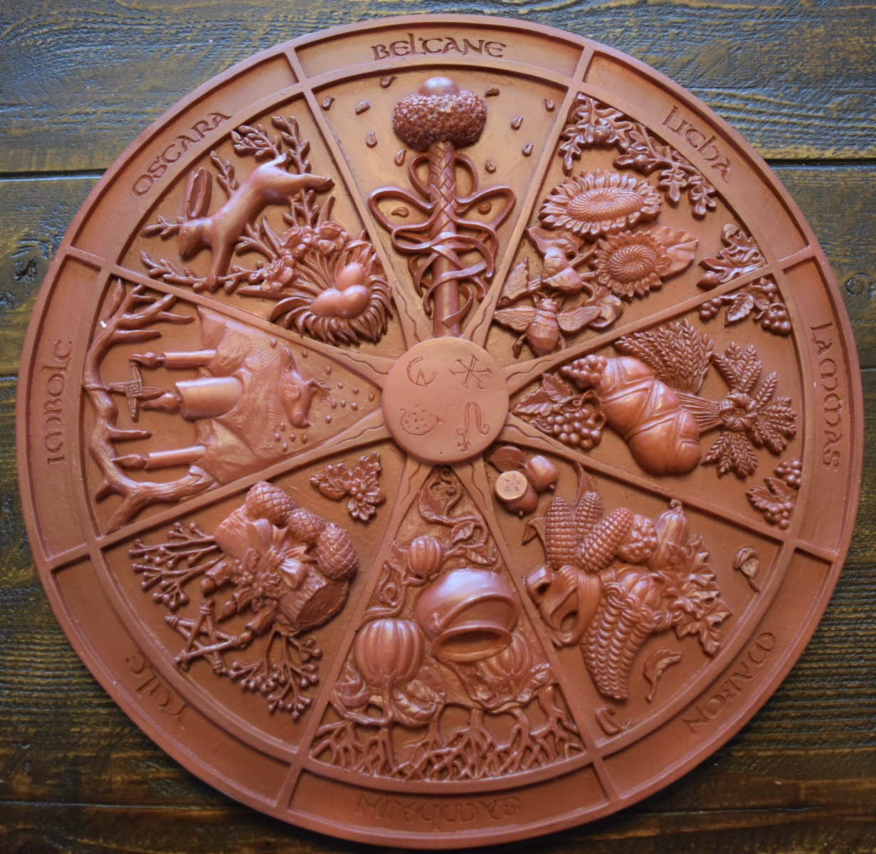 wheel of the year plaque new moon cottage. Black Bedroom Furniture Sets. Home Design Ideas