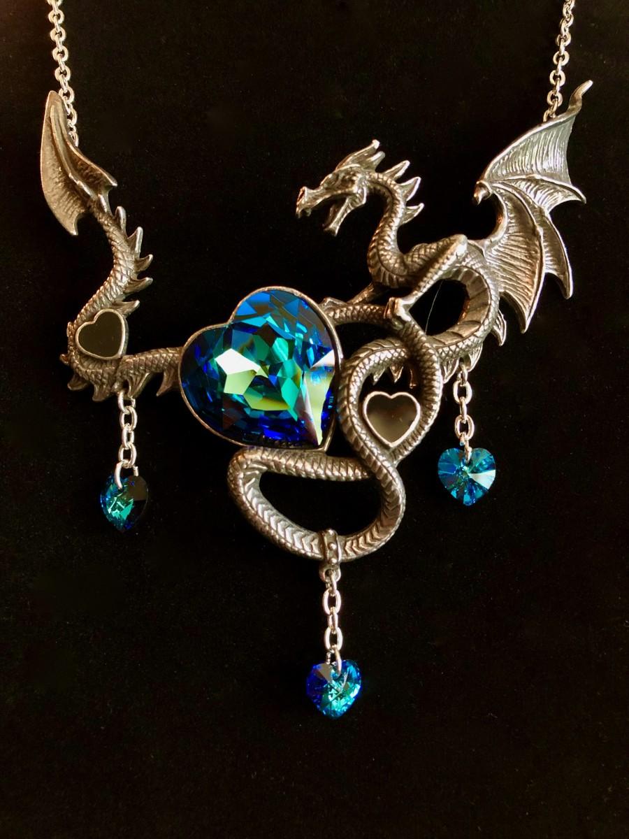 Alchemy England Draig O Gariad P772 Dragon Black Blue Crystals Pendant Necklace