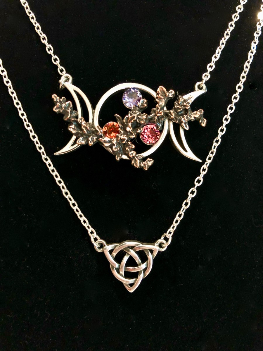 Wiccan Goddess Necklace with Swarovski Crystals